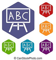 Chalkboard with the leters ABC icons set