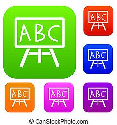 Chalkboard with the leters ABC set collection