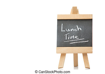 Chalkboard with the words lunch time written on it isolated...