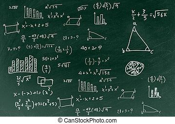 Chalkboard with writing math formula background, back to school education concept.