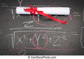 chalkboard, z, niejaki, dyplom