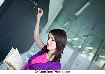 chalkboard/blackboard, hübsch, junger, schreibende, student, während, klasse, mathe
