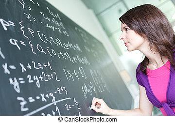 chalkboard/blackboard, joli, jeune, écriture, étudiant université, pendant, classe, math