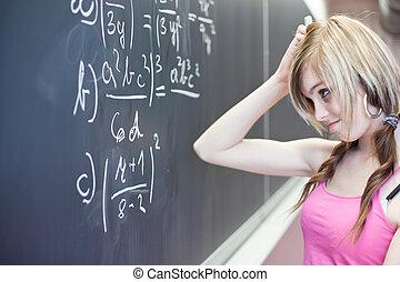 chalkboard/blackboard, modifié tonalité, image), étudiant, couleur, (shallow, jeune, écriture, dof;, collège, joli, pendant, classe, math