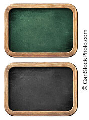chalkboards or blackboards set isolated on white with clipping path included