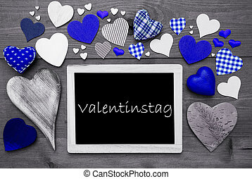 Chalkbord With Many Blue Hearts, Valentinstag Mean...