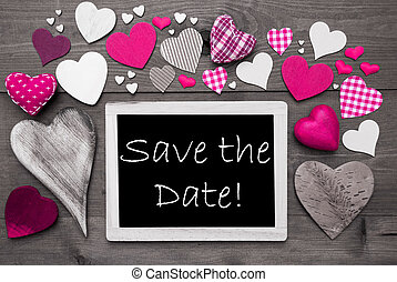 Chalkbord With Many Pink Hearts, Save The Date