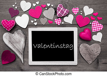 Chalkbord With Many Pink Hearts, Valentinstag Mean Valentines Day