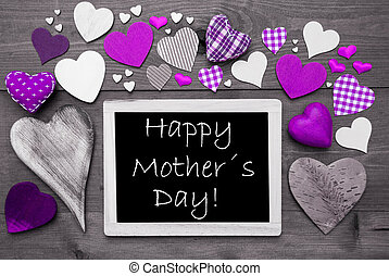 Chalkbord With Many Purple Hearts, Happy Mothers Day -...