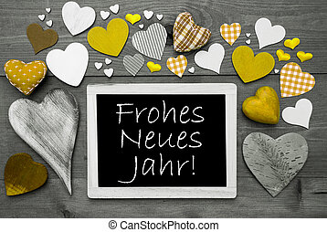 Chalkbord With Yellow Hearts, Neues Jahr Means Happy New Year
