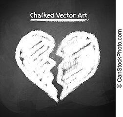 Vector illustration of chalked broken heart.
