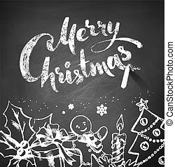 Chalked Christmas illustration with lettering