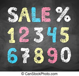 chalked, collezione, numeri