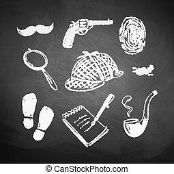 Chalked detective set.