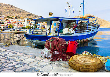 Chalki village view with with fishing boats
