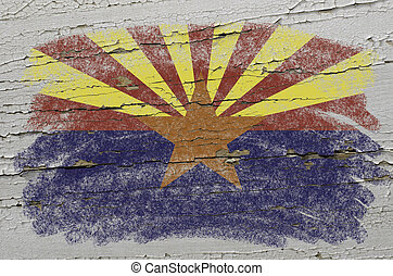 Chalky american state of arizona flag precisely painted with color chalk on grunge wooden texture