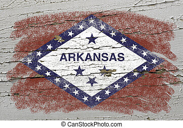 Chalky american state of arkansas flag precisely painted with color chalk on grunge wooden texture