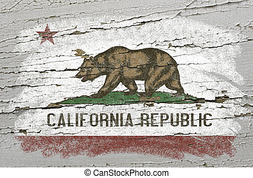 Chalky american state of california flag precisely painted with color chalk on grunge wooden texture