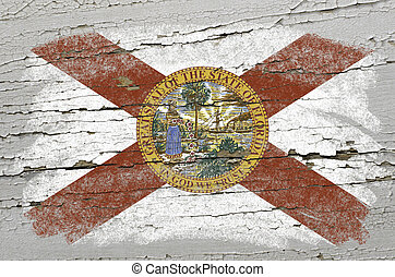 Chalky american state of florida flag precisely painted with color chalk on grunge wooden texture