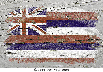 Chalky american state of hawaii flag precisely painted with color chalk on grunge wooden texture