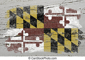 Chalky american state of maryland flag precisely painted...
