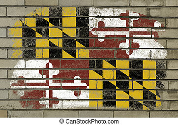 Chalky and grunge american state of maryland flag painted with color chalk on brick wall