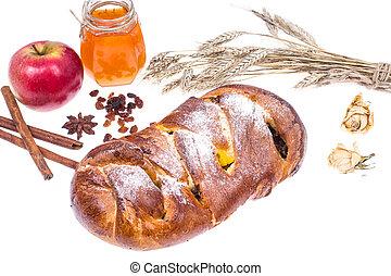 Challah, apple and honey-illustration Rosh Hashanah (Jewish New Year) on white background