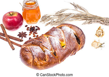 Challah, apple and honey-illustration Rosh Hashanah (Jewish New Year) on white background
