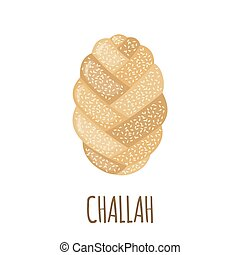 Challah icon in flat style. - Challah icon in flat style...