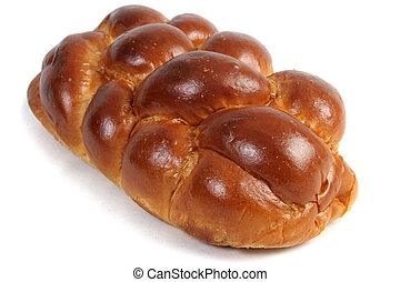 Challah Isolated - A loaf of challah bread for shabbat, ...