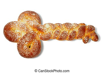 Challah in a shape of key on white background
