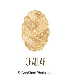 challah, style., plat, icône