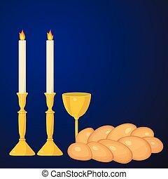 challah., tasse, sabbat juif, traditional., bougies, kiddush