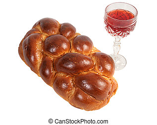 Challah & Wine - Challah bread and wine for Shabbat,...