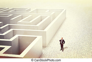challenge - businessman look 3d abstract maze