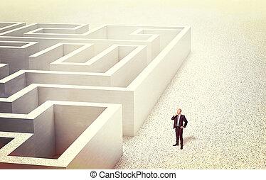 challenge - businessman look 3d abstract maze