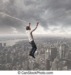 Challenge concept - Concept of a businessman that challenges...