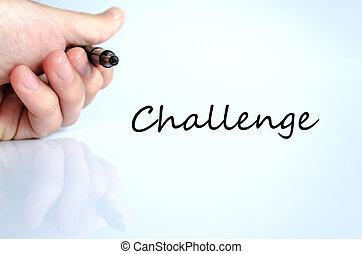 Challenge Concept - Pen in the hand isolated over white...