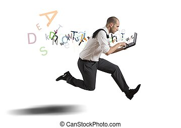Challenge in business with running businessman with laptop