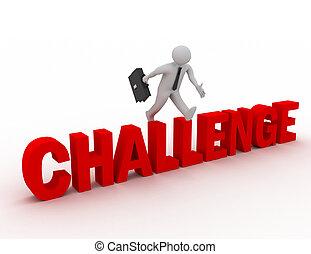 'challenge', mot, sur, sauter, fond, homme affaires, blanc, 3d