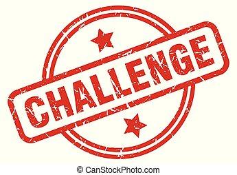 challenge round grunge isolated stamp