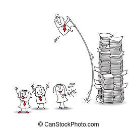 Challenge - joe, the businessman jumps over a stack of paper