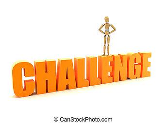 Challenge - Wooden mannequin mastering a challenge over...
