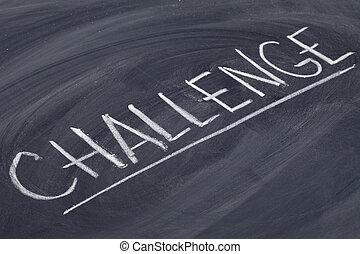 challenge word on blackboard - challenge word in white chalk...
