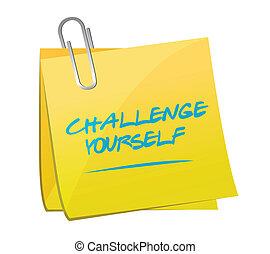 challenge yourself post message illustration design over a...