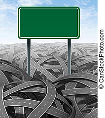 Challenges and obstacles with blank highway sign