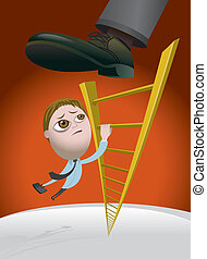 Business man climbing the corporate ladder and getting kicked back down the rungs by his boss.