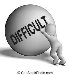 challenging, środki, problematyczny, twardy, litera, albo,...