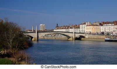 Chalon-sur-Saone - the town Chalon-sur-Saone in Burgundy,...