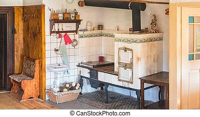 chalupa, tradiční, pokrýt dladicemi, sporák, kuchyně, timbered